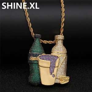 Iced Out Sprite Bottle Purple Cup Pendant Necklace Hip Hop Gold Silver Chain for Men Women