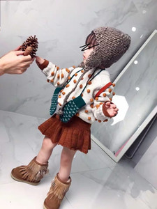 Baby girls pompom sweater INS new kids round collar knitted long sleeve pullover children handmade pompom wool jumper A4760