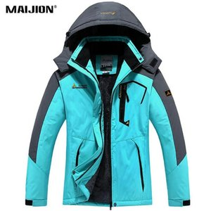 Windproof Hiking Jackets Couple Climbing Cycling Coat Warm Winter Mens Waterproof Hooded Fleece Jackets Skiing Coat