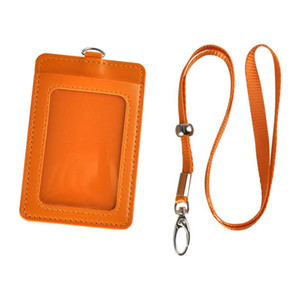 Newest Cheapest Badge Holder PU Leather Vertical ID Card Wallet Case with Detachable Lanyard Strap Business For Women and Men High Quality
