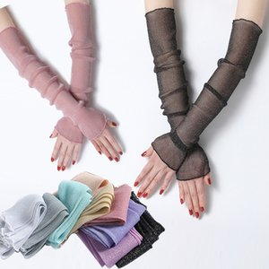 Women lace Arm Sleeves 2020 New Summer Sunscreen Protect Thin Silk Filigree Mesh Warmers for Lady Driving Cycling Gloves Cover