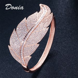 Donia jewelry three color electroplating exaggerated luxury micro inlaid zircon leaves Adjustable Bracelet personalized birthday gift