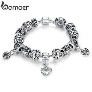 BAMOER Gümüş Kaplama Charm Bilezik Bileklik Gümüş Kaplama Ile Kalp Kolye Kadınlar Için Düğün Vintage Takı PA1431