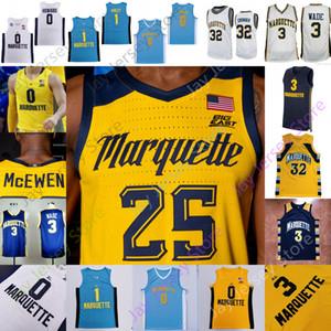 2020 New Marquette Eagles d'or Basketball Jersey NCAA Markus Howard Koby McEwen Sacar Anim Greg Elliott Theo John Cain Morrow