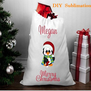 10pcs lot Merry Christmas Sublimation Santa Sacks White Blanks Candy Bag New Year Home Decoration Candy Gift Large Storage jllJYF Fight2010