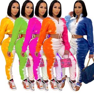 Femmes Survêtement 2 pièces Scénographe Casual Tie Dye imprimé à manches longues Zipper Top Pantalons Tenues Mode Femmes Costumes de sport Sportwear