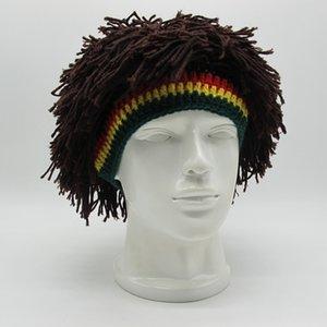Unisex Novelty Knit Handmade Wig Braid Hat Men Funny Jamaican Bob Marley Reggae Cap Rasta Beanies Cool Tassel Hair Accessories