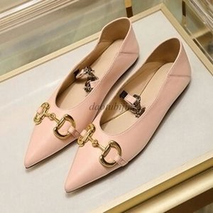 Designer women buckle flat ballet shoes Genuine leather Pointed loafers Fashion women Princetown Ladies Casual Fur Mules Flats b3