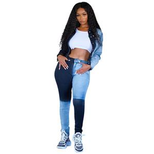 Le donne Contrasto jeans di colore della metà di vita a pannelli slim fit con Cerniera matita dei jeans delle signore di modo di vestiti