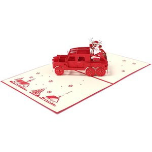 3D Handmade 2019 Christmas Elk Santa Claus Red Car Paper Invitation Greeting Cards PostCard New Year Relative Friends Kids Gift