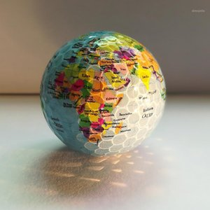 2 UNIDS / SET GLOBE MAP Mapa Golf Bolas de golf Color Golf Balls Práctica Bola Regalo Transparente Colorido Niños Mascotas Juguetes Masaje 1