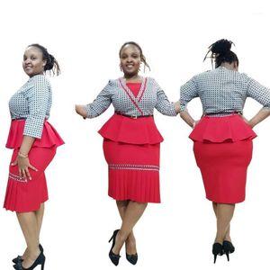 New Style Classic African Women Abbigliamento da donna dashiki Moda Stretch Stampa Gonna pieghettata + Suit con scollo a V Vestito L XL XXL FH8291
