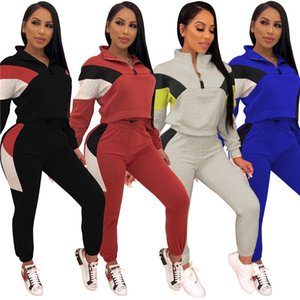 womens long sleeve sweater outfits 2 pieces set tracksuit sweatsuit pullover tights sportswear sports very hot klw0349