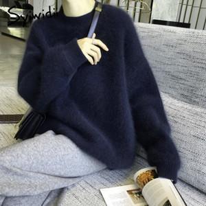 Syiwidii 풀오버 니트 스웨터 여성 겨울 의류 배트 윙 슬리브 가짜 모피 두꺼워 플러스 사이즈 한국어 탑 오버 사이즈 블랙 201019