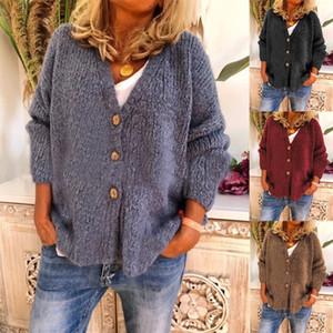 Dropshipping Sonbahar Kış V Yaka Bayan Tasarımcı Triko Moda Gevşek Giyim Casual Katı Renk Hırka Örme Triko