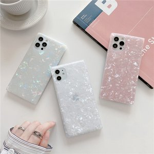 Square Conch Pattern Soft Bumper Back Case Full Protective Silicone Solid Phone Shell for iPhone 12 11 Pro Max XR XS 8 Plus