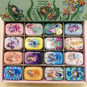 32 adet / kutu Karışık Mermaid Baskı Mini Hap Durumda Koleksiyon Mini Kutusu DIY Saklama Kutusu Demir Ruj Kılıf Küçük Teneke Kutu C0116
