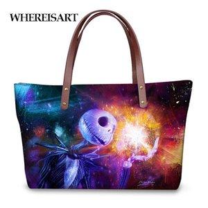 WHEREISART Universe Galaxy Stern Jack Skellington Frauen Large Tote Cross-Body-Tasche Top-Griff Taschen für Damen Schulter Handtaschen