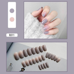 24pcs Matte Fake Nails For Lady Long Round Soft Frosted Press On Nails Multicolor Detachable False Manicure
