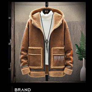 Leather jacket men's streetwear bomber jacket winter lambskin coat men's suede slim casual warm business