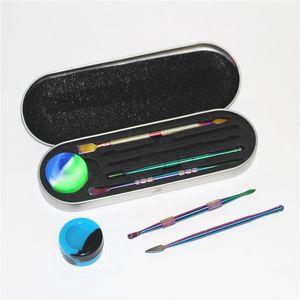 High quality rainbow wax dabber tool wax atomizer stainless steel dab tool titanium nail dabber tool dry herb vaporizer pen dabber tools set