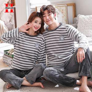 Harrill Herbst-Winter-Flanell Paar Sets Warm Plus-Size Home Pyjamas 2pcs Karikatur-Muster-Frauen-Männer Nachtwäsche Nachtwäsche