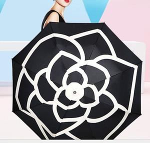 Paraguas flor de la camelia de las mujeres 3 -Fold UV Protección sombra de lujo soleado y lluvioso paraguas ju0516