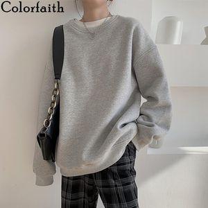 Colorfaith New 2020 Autumn Winter Women Sweatshirts Crewneck Harajuku Pullovers Oversized Korean Jumper Girls Tops SS20208