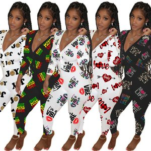 Designer Women Jumpsuits Slim Sexy Deep V-neck Fashion Element Valentine Day Home Wear One Piece Pants Ladies New Casual Rompers 2021