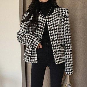 Plaid Tweed Jackets Women O-Neck Long Sleeve Office Lady Wool Coats Autumn Winter Outwear Vintage Korean Elegant Fashion