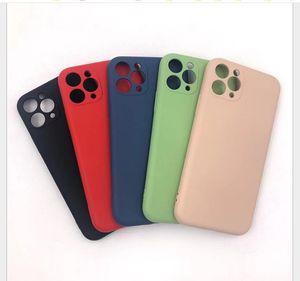 Imitado Silicone Líquido TPU Case Slim 360 completa cobertura para iPhone 12 mini pro max 6,1 6,7 2,020 iphone 11 pro Max XS MAX 800PCS / LOT