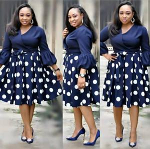HGTE Neue Sommer ELEGENT Mode Stil Afrikanische Frauen drucken plus Größe Polyester Kleid L-3XL Y1227