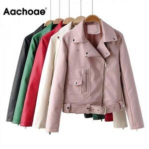 Aachoae High Street Pu Leather Jacket Женщины Сплошной с длинным рукавом Стильный пальто женщина карманные молния Украсьте Chic пальто куртки 2020
