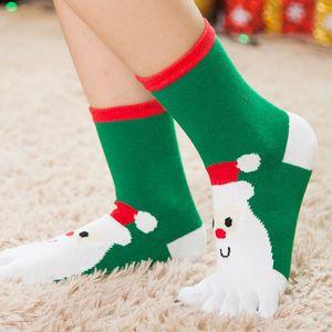 childre için Sonbahar ve kış Noel karikatür çocuk orta tüp bölünmüş ayak beş parmak ılık hediye Sıcak çocuk çorabı Bölünmüş ayak çorap