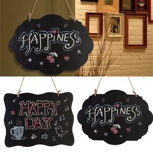 Originality Message Board Woodiness Mini Hemp Rope Two Sided Write Small Home Decorate Cloud Wave Pendant Blackboard 3ys K2