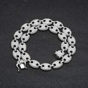2019 New Hip Hop Men's Necklace Fashion Coffee Beans Full Of Pig Nose Alloy Necklace Jewelry