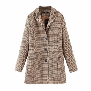 Causal women elegant blazers 2021 autumn fashion ladies plaid jacket streetwear female button blazer chic girl elegant blazer