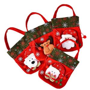 Santa Claus Bag Drawstring Christmas Gift Bag 3D Design Fabric Christmas Suitable for Party Supplies