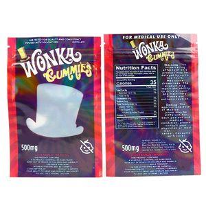 NEW Wonka Gummies Mylar Tasche 500mg Edibles Mäppchen Smeproof Speicherkleinbeutel für trockene Kräuter Tabak Blume Resealable DHL frei