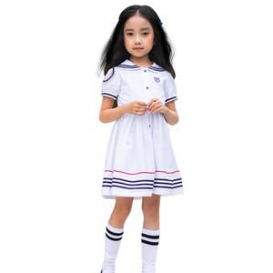Short Sleeve Color-block Striped Preppy Girls A-Line Little Dress Girl Kids.