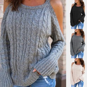 New Womens Long Sleeve Knitted Sweater High Quality Off Shoulder Pullovers Female Loose Sweater Knitted Warm Tops GAOKE A1107