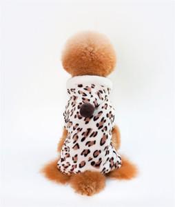Coral Velvet Dogs Jumpsuit Four Legs Leopard Print Puppy Clothing Small Dog Pet Clothes Autumn Winter New Pattern Hot Sale 5kl J2