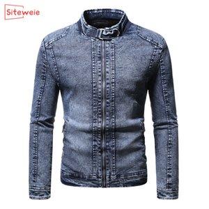 Siteweie Kore Moda 2020 Sonbahar Kış Kalınlaşmak Sıcak Kadife Denim Ceket Erkek Giyim Açık Yukarı Jeans Coat G482 Zip