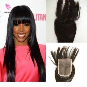 Em armazém Encerramento 7A grau de cabelo humano Encerramento Com Bangs 100% Virgin Malásia cabelo Lace Closures Com Bangs Frange Lace Encerramento