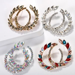 Best lady Bohemian Shiny Glass Crystal Stud Earrings for Women Colorful Wedding Jewelry Round Korean Statement Earring Wholesale