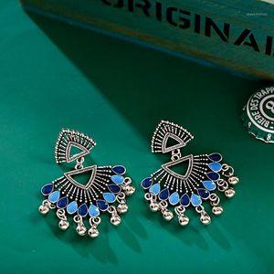 Vintage Silber Farbe Dreieck Legierung Jhumka Ohrringe Womens Brinco Quaste Ohrringe Tribal Gypsy1