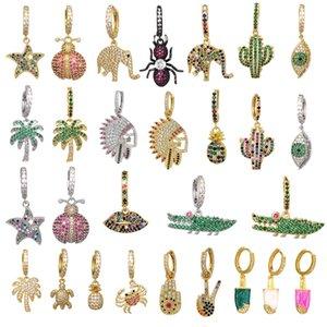 QMHJE 1 pieza de joyería pequeño aro pendiente CZ de las mujeres del arco iris de oro color de la plata piña estrella Cactus mal de ojo elefante Earing