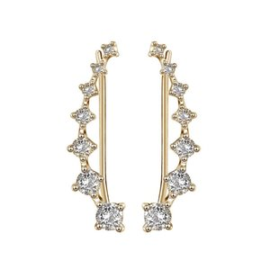 New Arrival Cubic Zirconia Stud Earrings for Women Gold Silver Plated CZ Crystal Clip Cuff Earrings Lucky Fashion Wedding Jewelry Gift