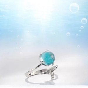 925 Sterling Silver Blue The heart of the ocean blue Ring Jewelry Delicate Tail of fish Ring Studs simple fashion jewelryu