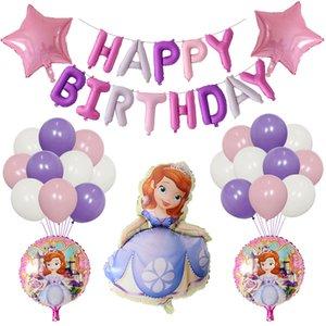 1 juego de Big princesa Sofía THEMED globos de helio decoración del banquete de boda de la muchacha de cumpleaños Dot ducha cabrito juega globo de látex bebé 1027